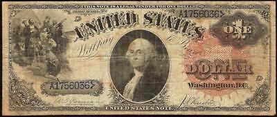 LARGE 1880 $1 DOLLAR BILL UNITED STATES LEGAL TENDER RED SEAL BLUE SN NOTE Fr 31