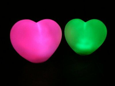 Set of 2 Heart Mood Lights - Colour Changing LED Sensory Gift Lamps by PK Green