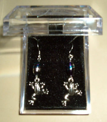8mm Oval BLUE w/ SILVER Glass Bead FROG EARRINGS NIB