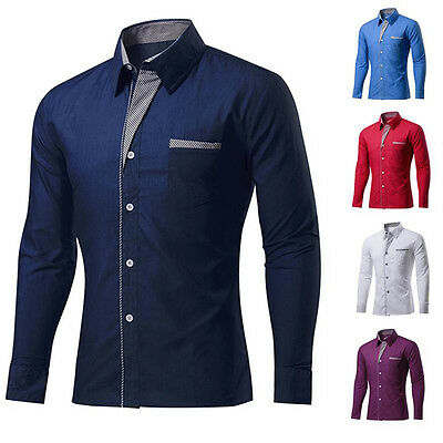 Fashion Mens Shirts Business Dress T-shirt Long Sleeve Slim Fit Casual Tops