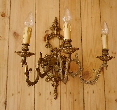 very big 3 light brass pair french wall lamps sconces asiatic ornaments old