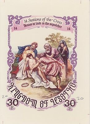 Lesotho 7216 - 1986 EASTER STATIONS of the CROSS #14 CROMALIN PROOF - UNIQUE