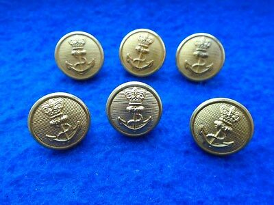 6 x VICTORIAN STYLE ROYAL NAVY 16MM GILT BUTTONS, LONDON BADGE & BUTTON