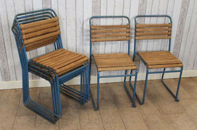 Retro Wooden Stacking Chairs With Slatted Seats Vintage Stackable Seating