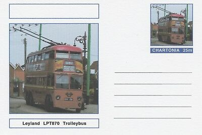 CINDERELLA 7220 - LEYLAND TROLLEY BUS on Fantasy Postal Stationery card