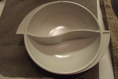 Vintage Mid Century Melmac Boonton Divided Bowl with Wing Handles Art Deco white
