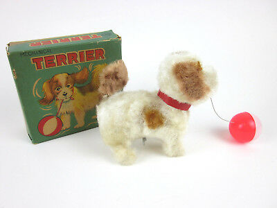 Vtg ALPS TERRIER Wind-up Toy Mechanical Dog Box Japan Plays with Ball