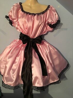 pink satin dress adult baby fetish sissy french maid cosplay Made To Measure