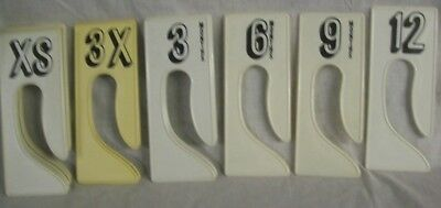 Store Display Fixtures 17 WHITE RECTANGLE SIZERS SIZE XS TO 12