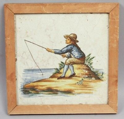 Antique 17/18c Dutch Faience Pottery Tile Hand Painted Scene of Man Fishing