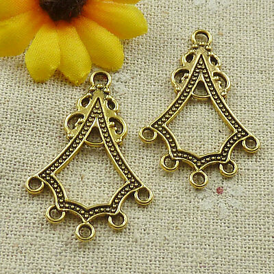 Free Ship 88 pcs gold plated nice earring connectors 37x25mm #4635