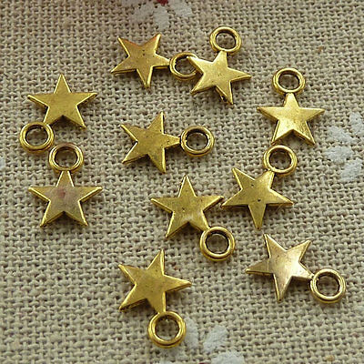 Free Ship 120 pieces gold plated star charms 17x12mm #163