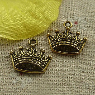 Free Ship 280 pcs gold plated crown charms 18x16mm #4439