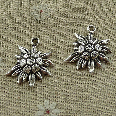 Free Ship 400 pieces tibetan silver sunflower charms 16x12mm #1750