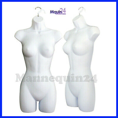 One Female Torso Mannequin - White Dress Form & 1 Hanging Hook
