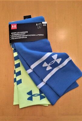 NWT UNDER ARMOUR Women's Sport Leg Warmers Blue/Yellow 2-Pack ONE SIZE FAST SHIP