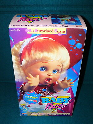 """New! BABY FACE DOLL : So Surprised Suzie @ 1990 Galoob 13"""" Poseable"""