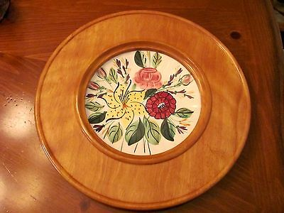 Vintage Blue Ridge Potteries Usa Floral Dish Center Wood Serving Cheese Dip Tray