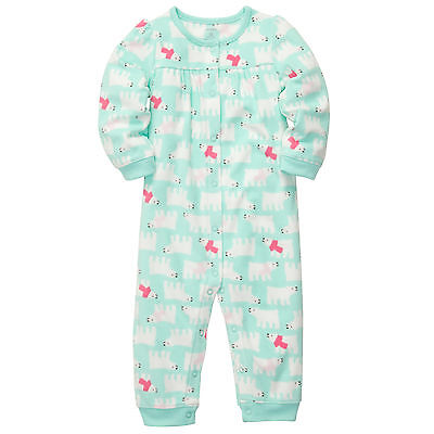 1e0eac6a0 NWT CARTERS BABY girls printed Fleece Jumpsuit Clothes 24 months ...