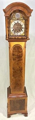 MUSICAL 3 TUNES CHIMES Figured Walnut Grandmother Miniature Grandfather Clock