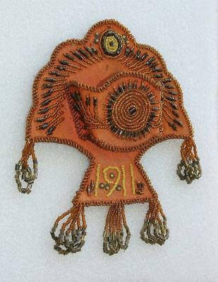 1911 Mohawk Iroquois Indian Beaded Whimsy Whisk Broom Holder Vintage Antique OLD
