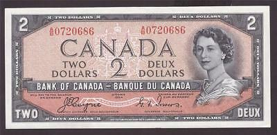 1954 Canada $2 Two Dollar Devils Face banknote BC-30a A/B0720686 CH UNC63+