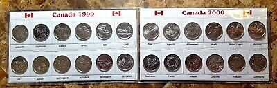 Canada 1999 & 2000 Millennium Designs  BU UNC Commemorative 12 Coin Sets!!