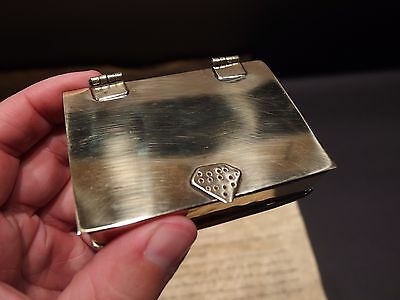 Vintage Antique Style Brass Tobacco Snuff or Pill Box Ring Square Container Box