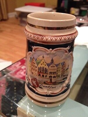 "Vintage German Ceramic Beer Mug Stein Frankfurt Scene 4"" Tall"