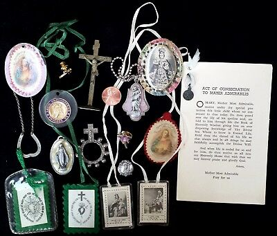 Lot of 15 Vintage Catholic Religious Items Scapular, Medals, Finger Rosary, etc.