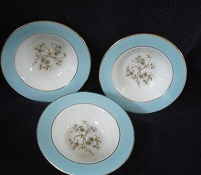 Homer Laughlin Cavalier Eggshell Turquoise Gold Floral Set of Three Fruit Bowls
