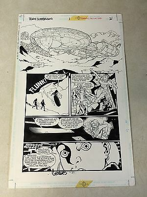 TEAM SUPERMAN #1 original comic art SUPERGIRL, SUPERBOY, STEEL, SPACESHIP