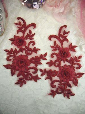"""DH68 Embroidered 3D Appliques Red Floral Lace Mirror Pair 8.25/"""" DIY Sew on"""