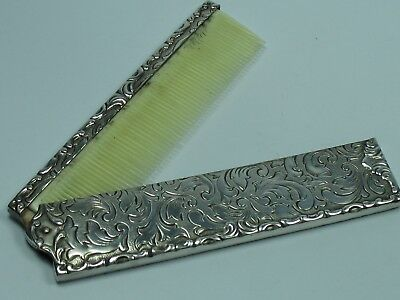 Beautiful Decorated Comb Travel Comb Folding Comb Made of 835 Silver