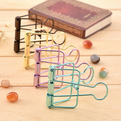 Fashion Simple Metal Binder Hollow Clips Home Office School File Paper Organizer
