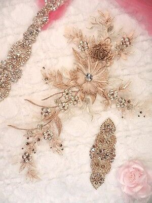 "Embroidered 3D Applique Rose Gold Champagne Floral Sequin Patch 14"" (DH70)"