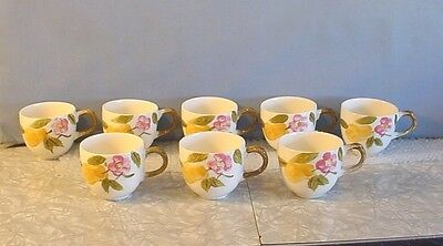Vintage! Mint Set Of 8 Laguna Pear & Pink Flower Embossed Ceramic Coffee Cups