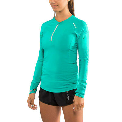 Virus Women's Stay Cool V-Line Half-Zip Thumb Hole Pullover Jacket - Teal