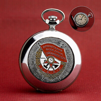 Pocket Watch Molnija 3602 - Roter Banner Orden USSR - Hammer & Sickle Shaped -