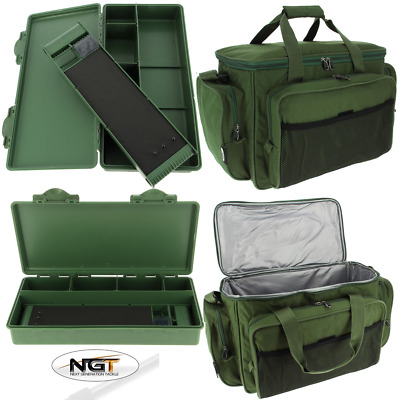 NEW Carp Fishing Tackle Box With Rig Board + NGT Insulated Green Holdall Bag 709