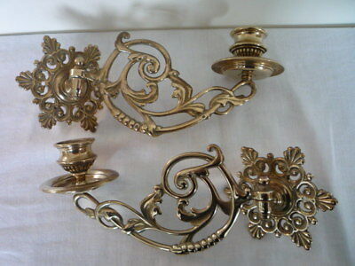 Pair Vintage Decorative Brass Candlestick Holder Wall Sconce Piano Swing Arm (B)
