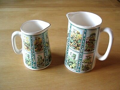 Two Graduated Eastgate Pottery (For Ringtons) Ceramic Jugs—Picture Card Pattern.