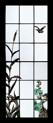 Rare Stunning Painted French Hollyhocks & Bird Antique Stained Glass Window