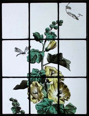 Beautiful Rare Painted French Hollyhock & Dragonfly Antique Stained Glass Window
