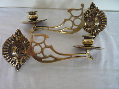 Pair Vintage Decorative Brass Candlestick Holder Wall Sconce Piano Swing Arm Old