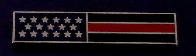 THIN RED LINE US Flag SILVER Uniform Award/Commendation Bar Pin firefighter/dept