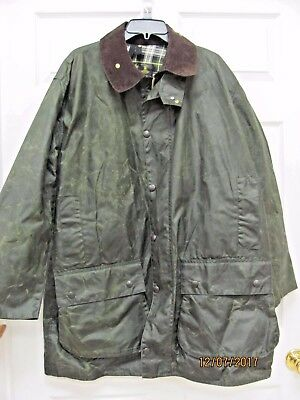 Vtg Barbour Border Jacket Men's 44 Sage Waxed Cotton with Dress Gordon Lining