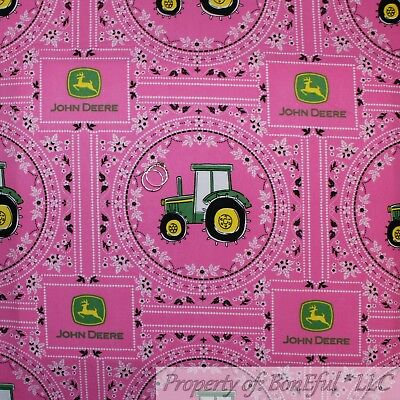 Boneful Fabric Fq Cotton Quilt Vtg Pink Green John Deere Tractor Farm Girl Block