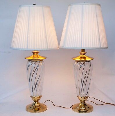 Pair Of Large Thick Heavy Crystal Glass And Brass Clear Swirl Table Lamps