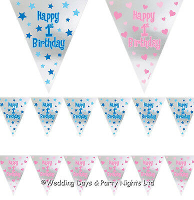 12ft Foil Happy 1st Birthday Pennant Flags Bunting Banner Party Decorations